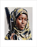 Somali woman holds a rifle