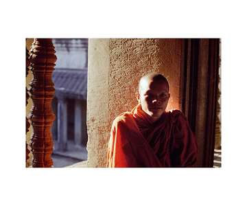 Cambodia (Monk with Pillar)